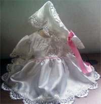 Dress and Bonnet made for a new born girl from grandma's wedding dress for first grand daughter